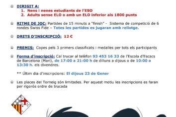 25 de gener – 2n torneig individual per ESO i Adlults